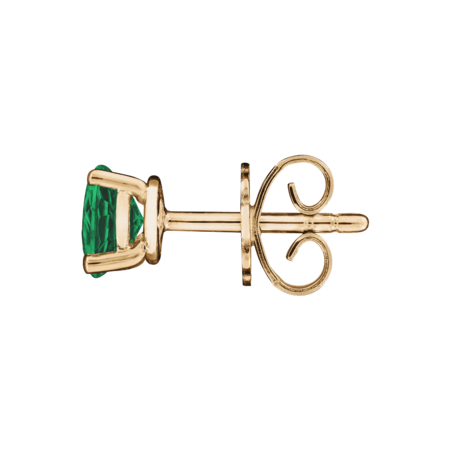 Stud Earrings 3 Prongs Emerald green in Rose Gold