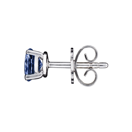 Stud Earrings 3 Prongs Tanzanite blue in Platinum