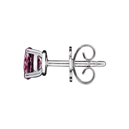Stud Earrings 3 Prongs Tourmaline pink in White Gold