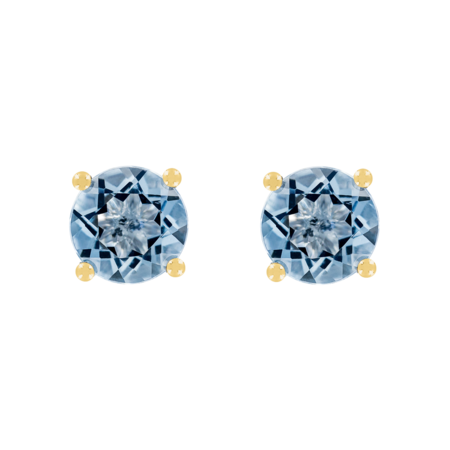 Stud Earrings 4 Prongs Aquamarine blue in Yellow Gold