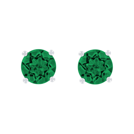 Stud Earrings 4 Prongs Emerald green in White Gold