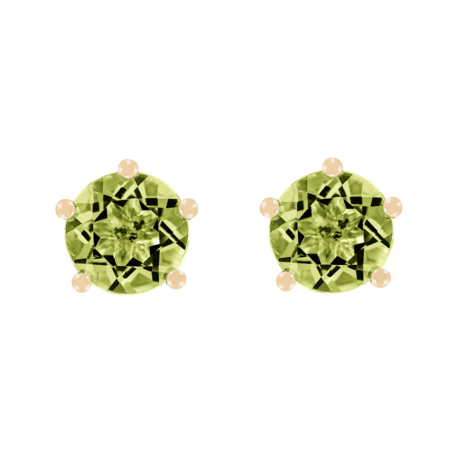 Stud Earrings 5 Prongs Peridot green in Rose Gold