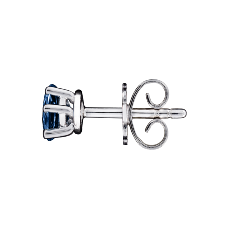 Stud Earrings 5 Prongs Sapphire blue in Platinum