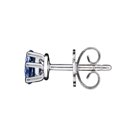 Stud Earrings 5 Prongs Tanzanite blue in White Gold