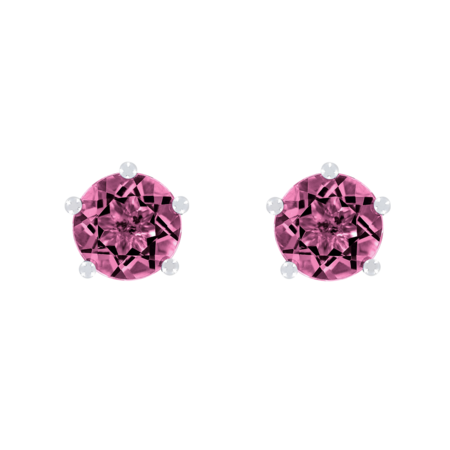 Stud Earrings 5 Prongs Tourmaline pink in White Gold