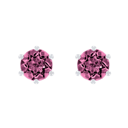 Stud Earrings 6 Prongs Tourmaline pink in White Gold