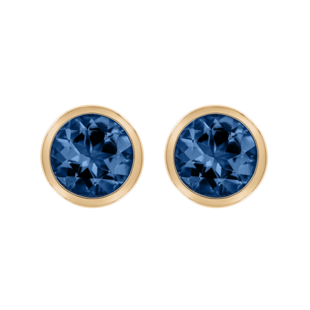Stud Earrings Bezel Sapphire blue in Rose Gold