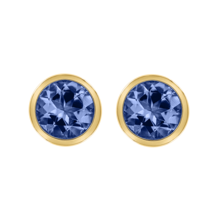 Stud Earrings Bezel Tanzanite blue in Yellow Gold