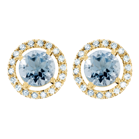 Stud Earrings Halo Aquamarine blue in Yellow Gold
