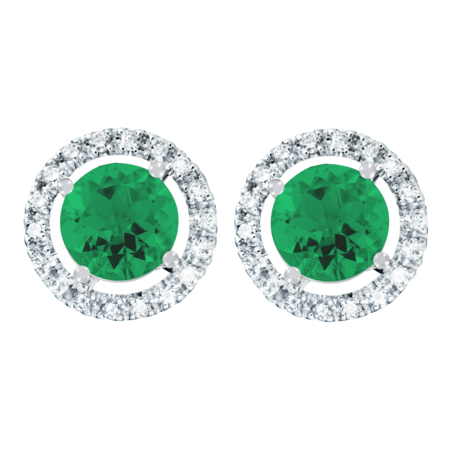 Stud Earrings Halo Emerald green in White Gold