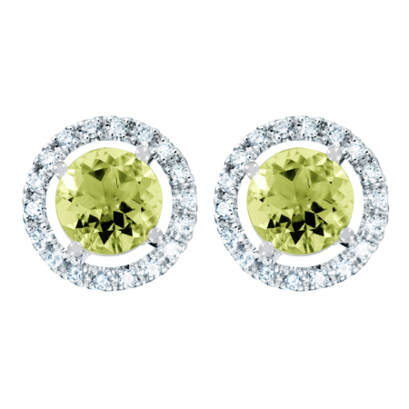 Stud Earrings Halo Peridot green in White Gold