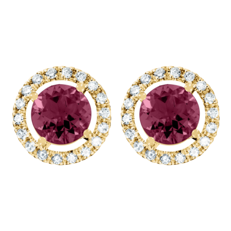Stud Earrings Halo Rhodolite red in Yellow Gold