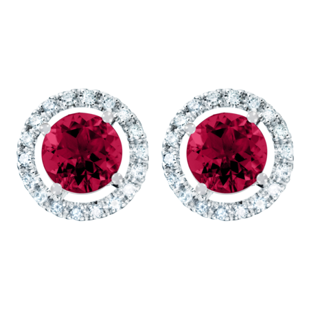 Stud Earrings Halo Ruby red in Platinum