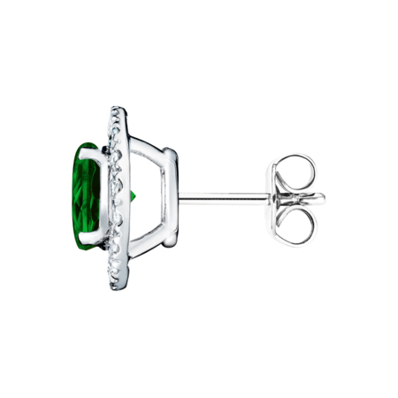 Stud Earrings Halo Tourmaline green in Platinum