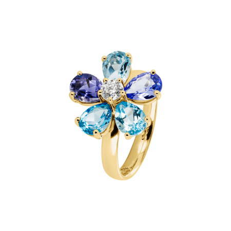 Bague Flowers bleue in Or jaune