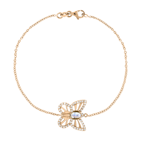 Bracelet Papillon Pierre de lune in Or rose