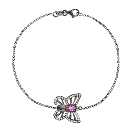 Bracelet Papillon Tourmaline Rose in Or gris