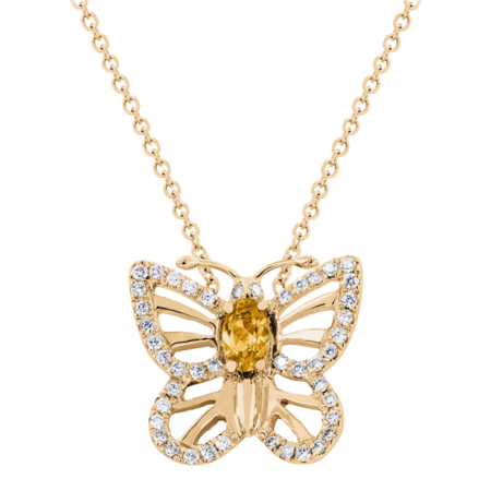 Collier Papillon Citrine in Or rose