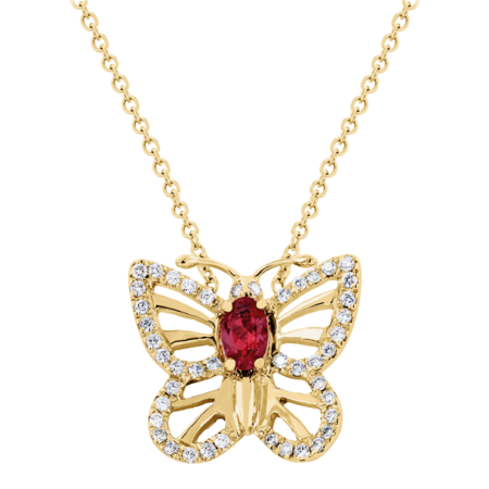 Collier Papillon Rubis in Or jaune