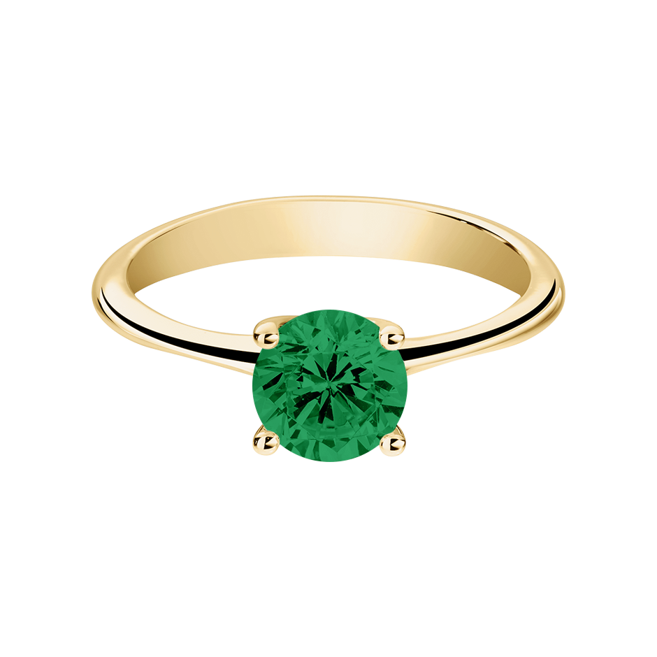 Basel Emerald green in Yellow Gold