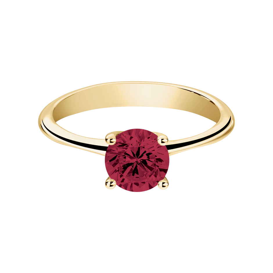 Basel Ruby red in Yellow Gold