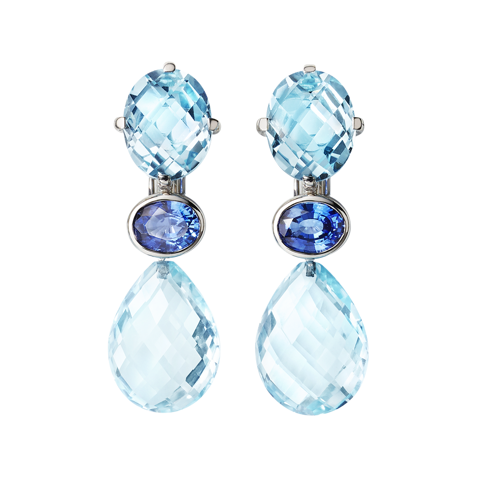 Boucles d'oreilles Blue Mountains in Or gris