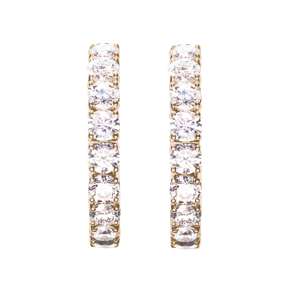 Diamond Hoop Earrings VI in Rose Gold