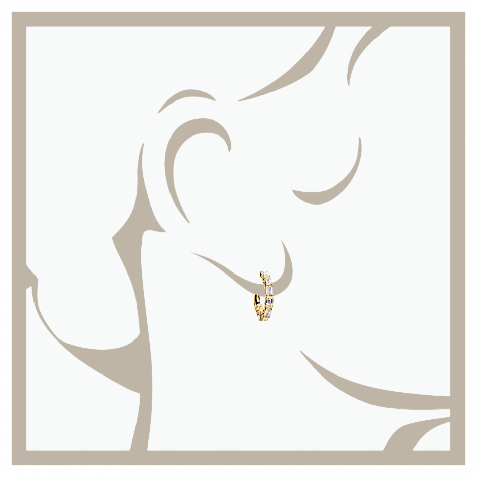 Diamond Hoop Earrings VII in Yellow Gold