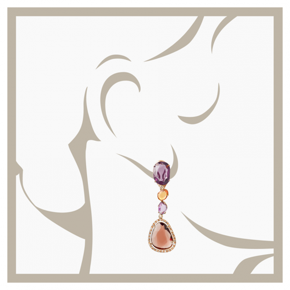 Earrings Unique in Rose Gold