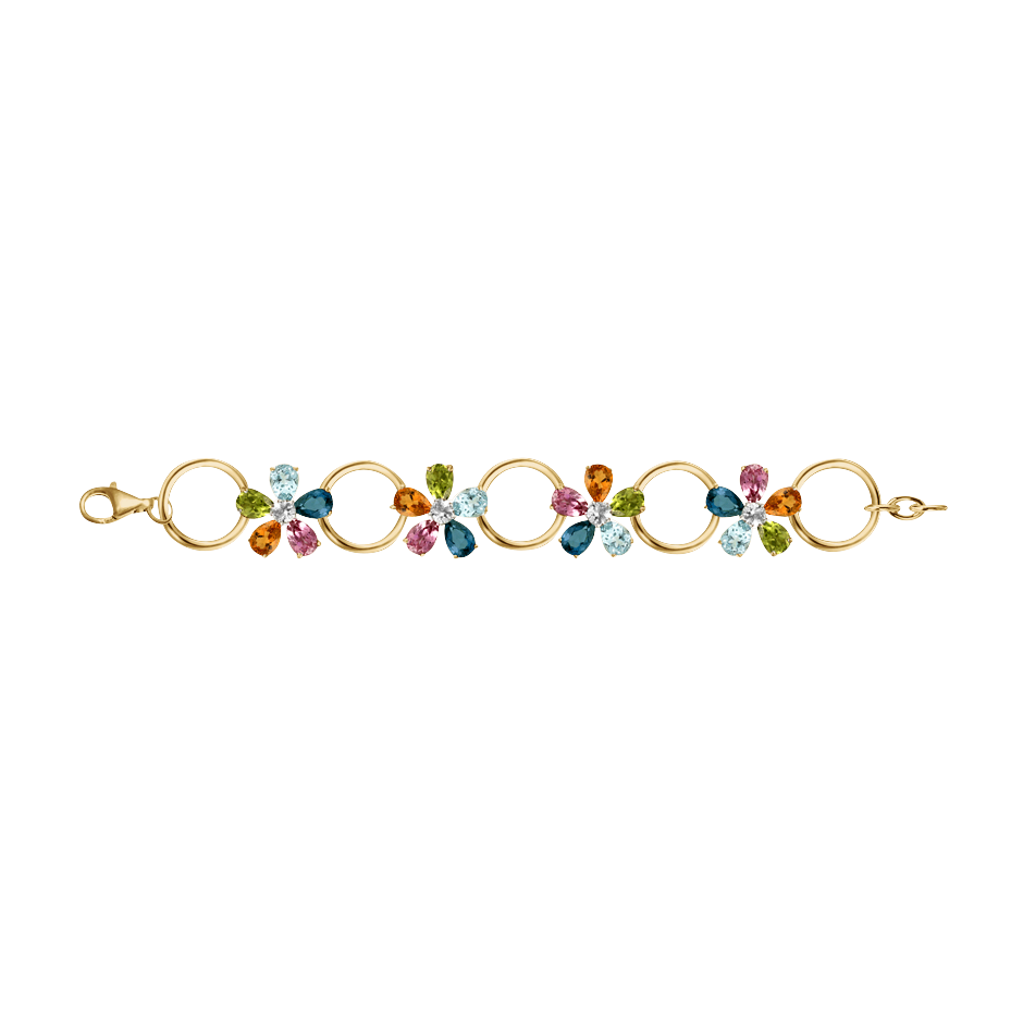 Flowers Bracelet in Yellow Gold