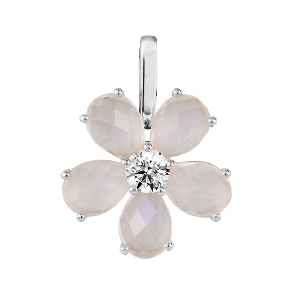 Flowers Pendant Moonstone in White Gold