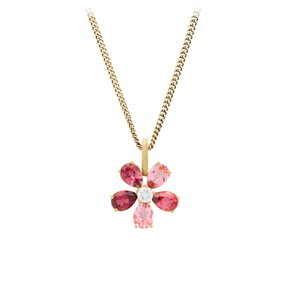 Flowers Pendant Tourmaline in Yellow Gold