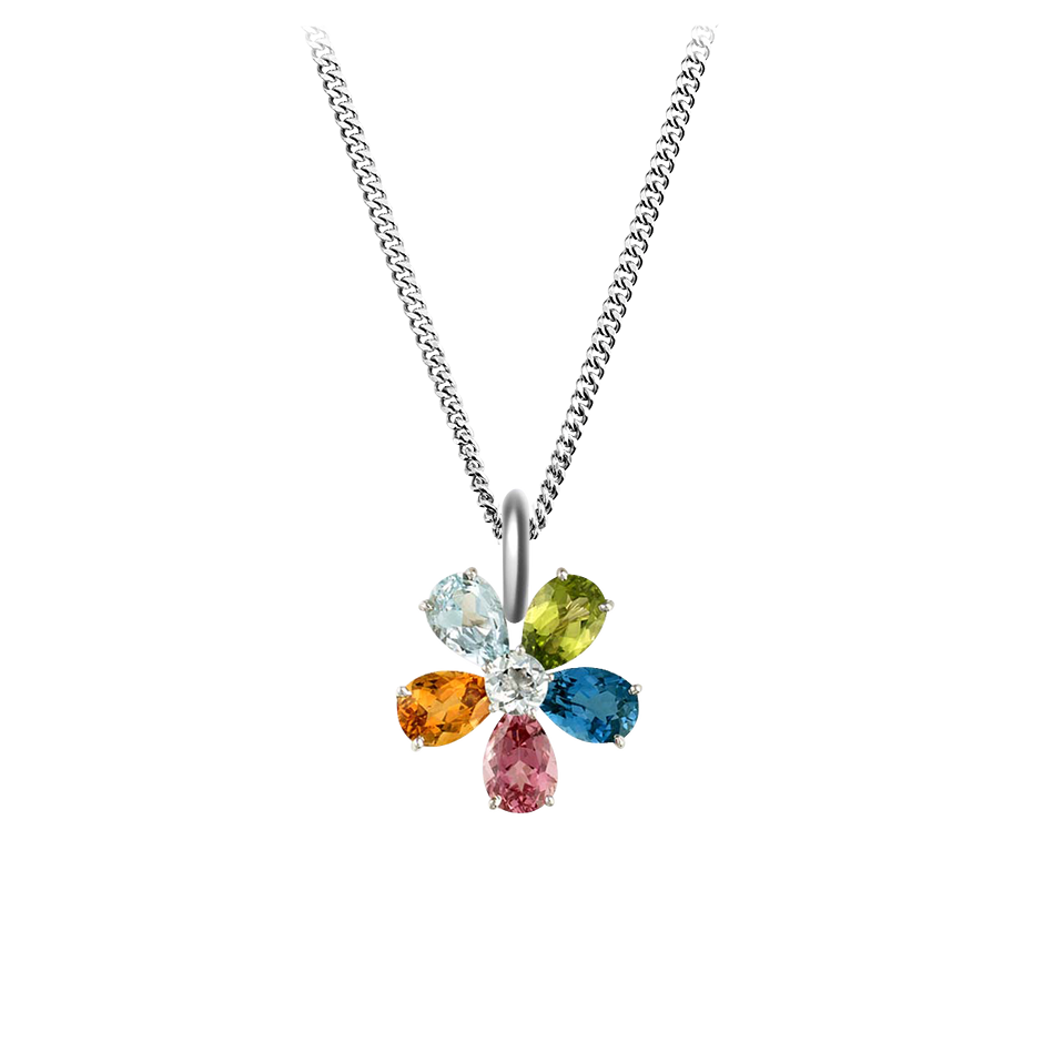 Flowers Pendant in White Gold