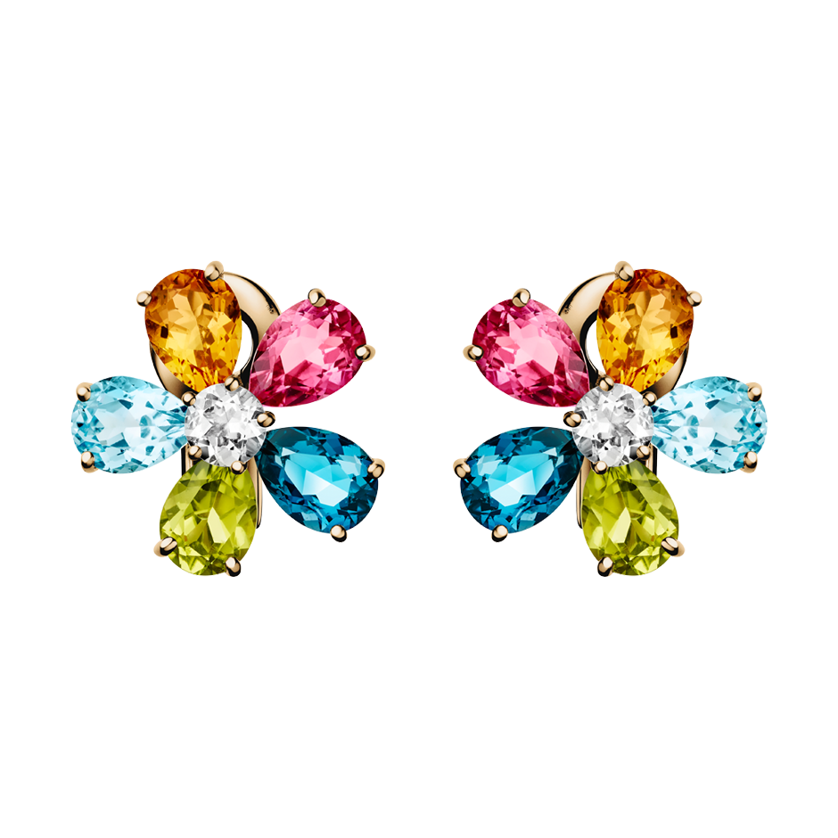 Flowers Stud Earrings Colourful in Rose Gold