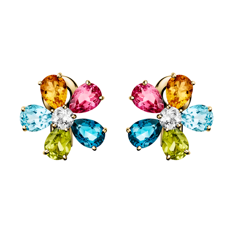 Flowers Stud Earrings Colourful in Yellow Gold