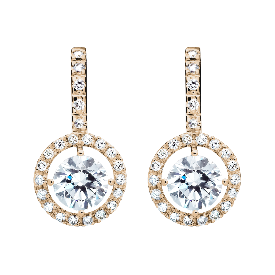 Halo Diamond Earrings with Brilliants in Rose Gold