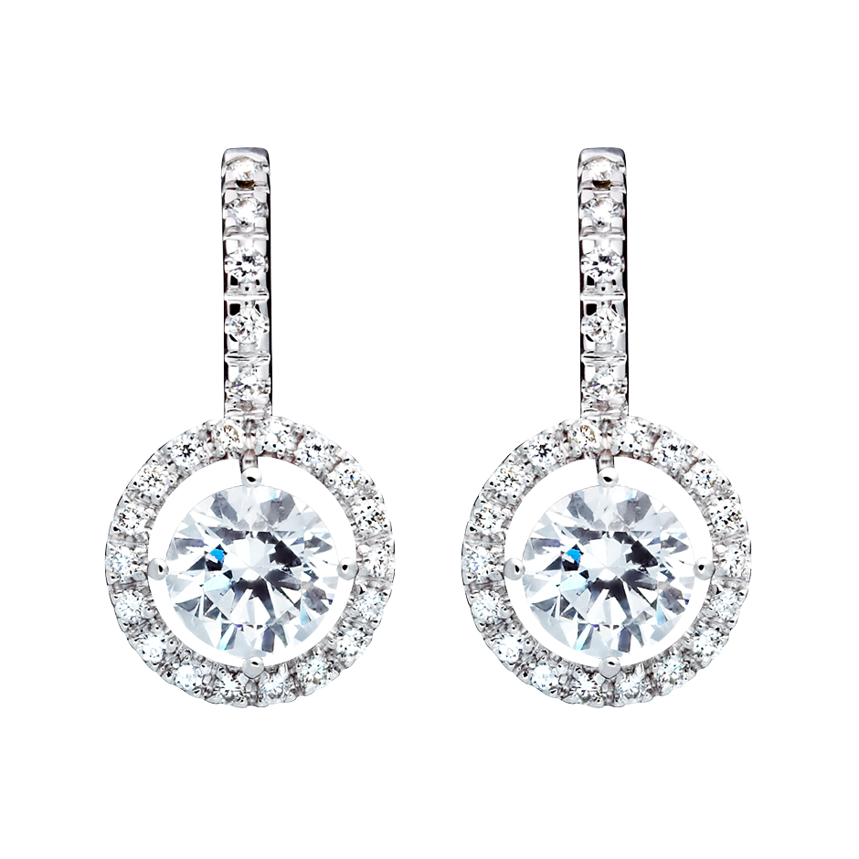 Halo Diamond Earrings with Brilliants in White Gold