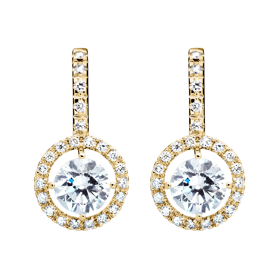 Halo Diamond Earrings with Brilliants in Yellow Gold