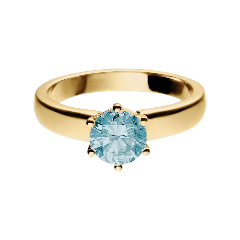Malmö Aquamarine blue in Yellow Gold