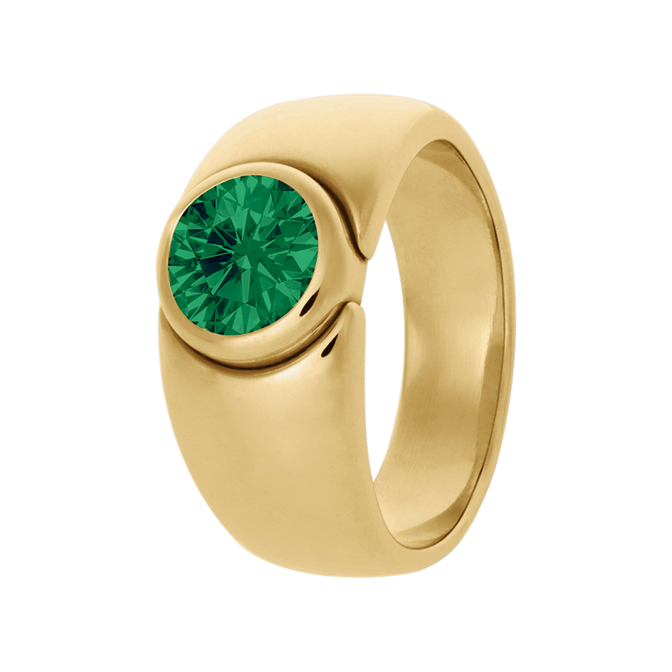 Mantua Emerald green in Yellow Gold