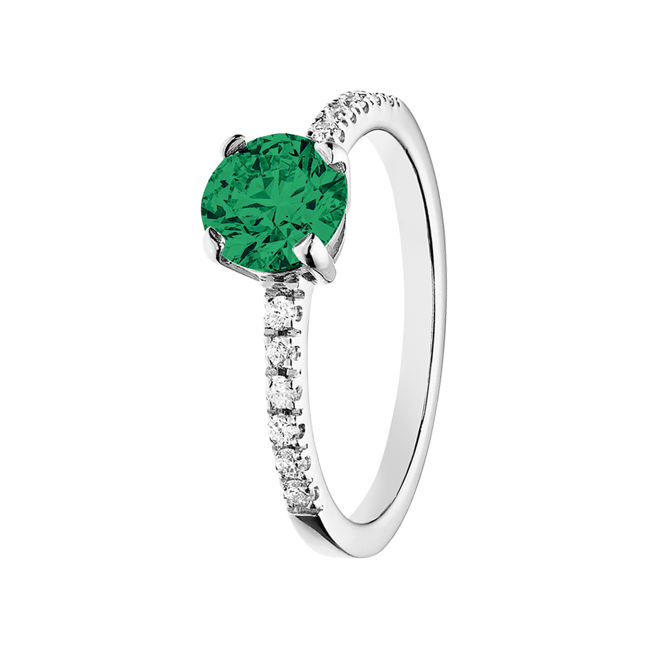 Melbourne Emerald green in White Gold