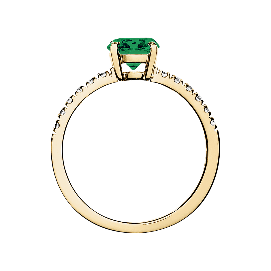 Melbourne Emerald green in Yellow Gold