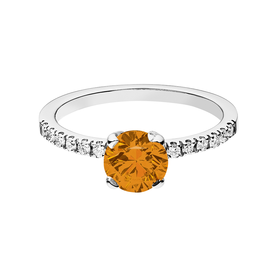 Melbourne Madeira Citrine orange in Platinum