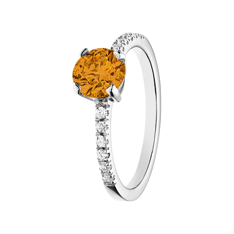 Melbourne Madeira Citrine orange in White Gold
