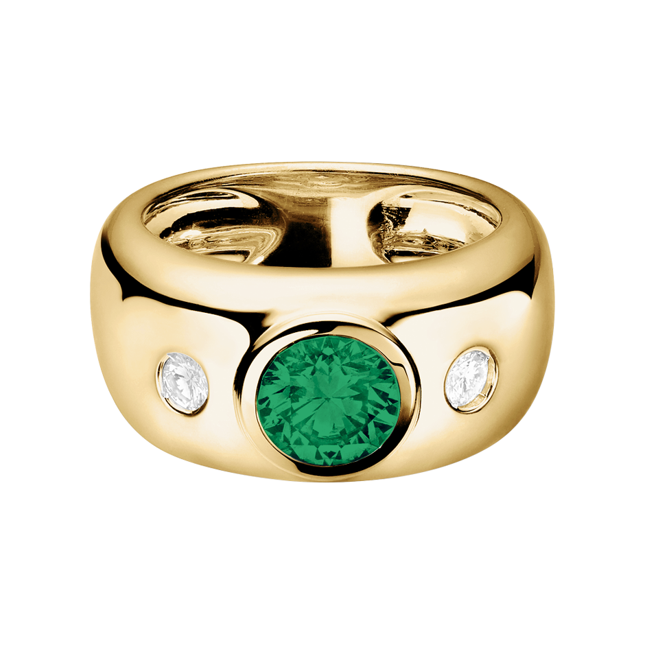 Naples Emerald green in Yellow Gold