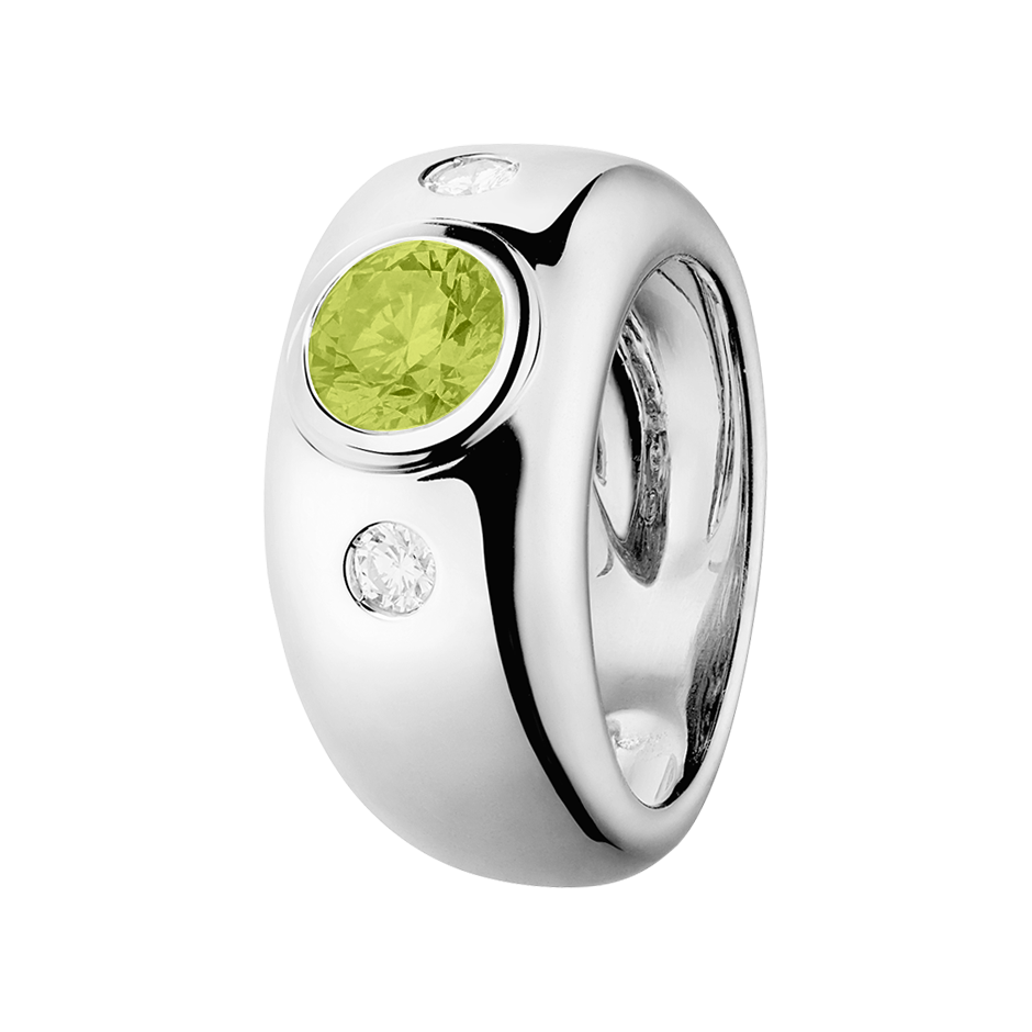 Naples Peridot green in Platinum