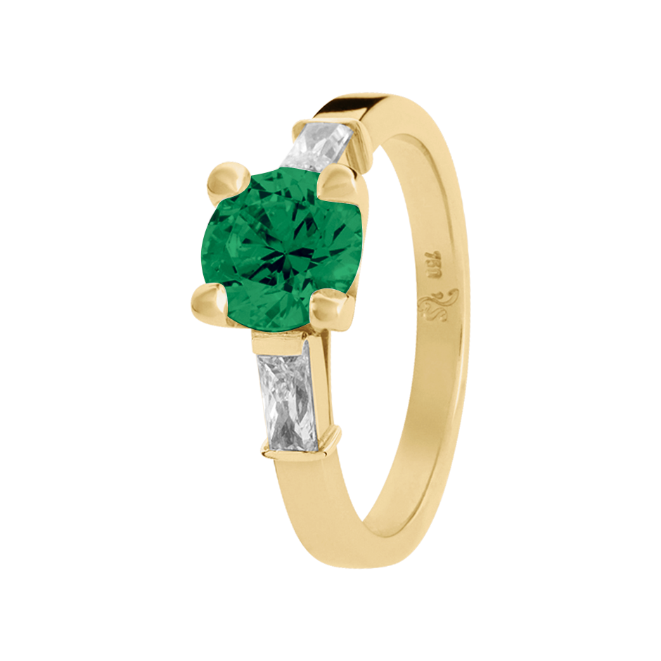 Paris Emerald green in Yellow Gold