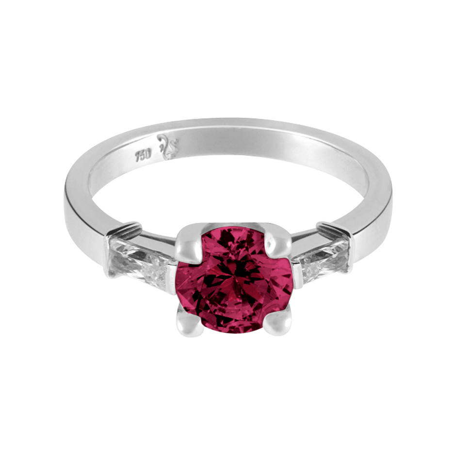 Paris Rhodolite red in White Gold