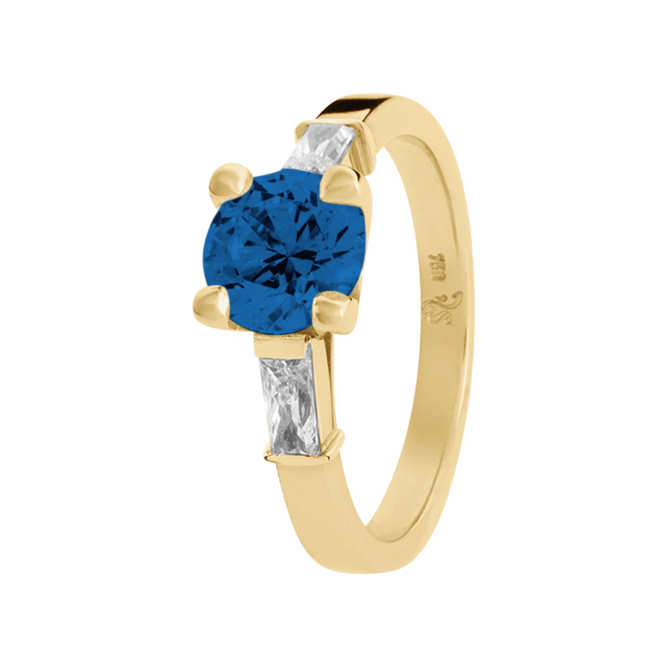 Paris Sapphire blue in Yellow Gold