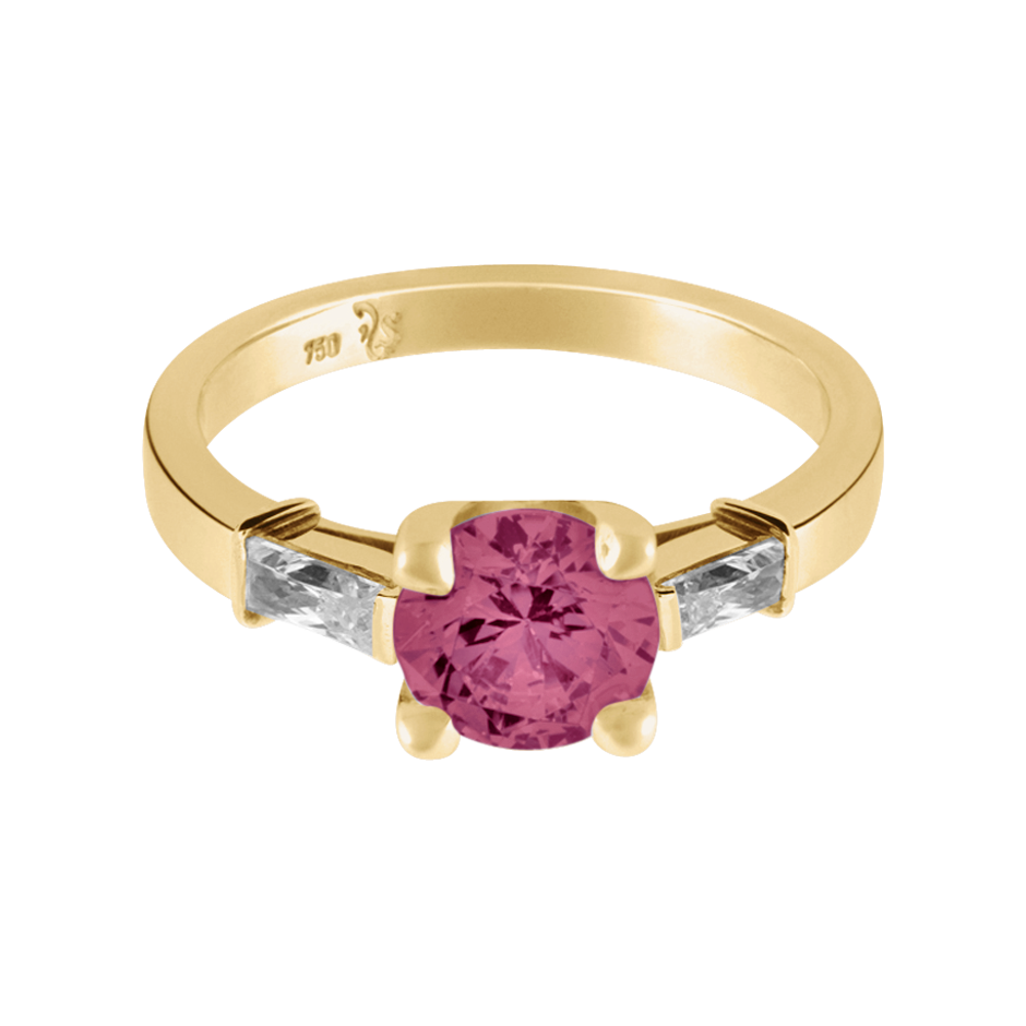 Paris Tourmaline pink in Yellow Gold
